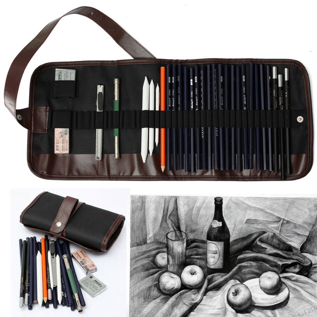 30pcs Sketch Pencil Set + Charcoal Pencil Eraser Kit For Drawing Sketching Art Craft Supplies