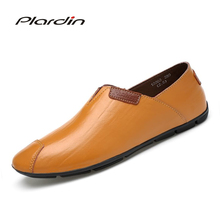 Plardin/Новая Всесезонная мода плюс Размеры человек Разделение из мягкой кожи удобное платье с стилей вырезы для мужская кожаная обувь