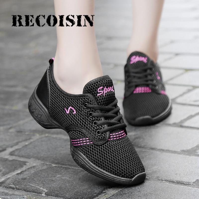 RECOISIN 2019 Woman Dance Shoes Sports Feature Soft Outsole Breath Dance Shoes Sneakers For Women Practice Shoes Modern Dance