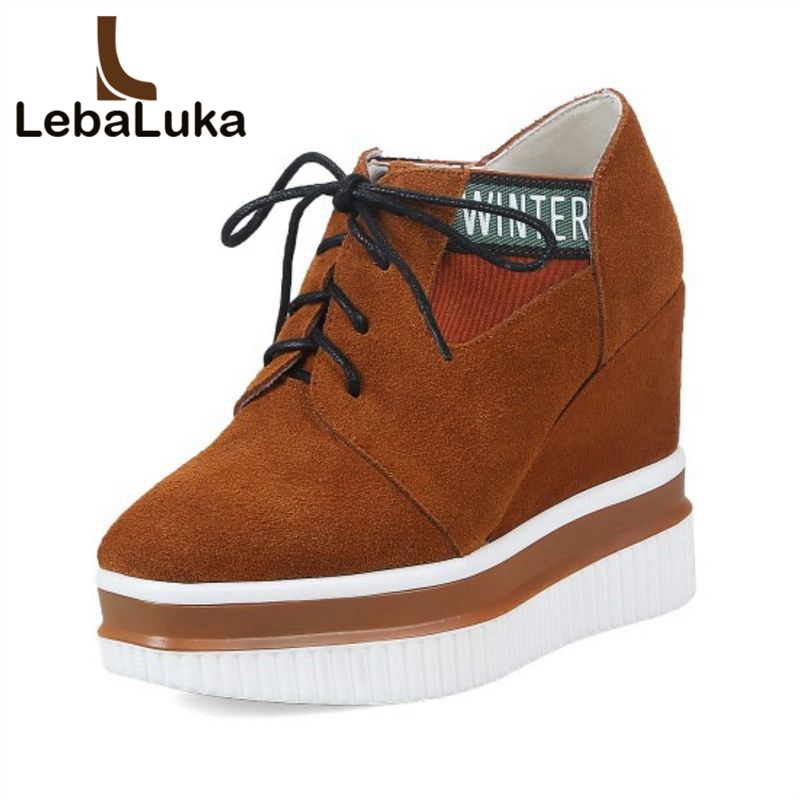 LebaLuka Size 33-42 Ladies Real Leather High Heels Pumps Women Cross Tied Thick Platform Wedges Shoes Women Fashion Footwear women wedges high heels shoes women pumps patent leather peep toe platform classics fashion shoes ladies footwear size 34 47