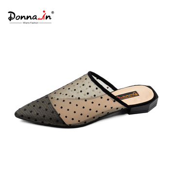Donna-in Sexy Mesh Women Mules Pointed Toe Slippers Polka Dot Fashion Low Heels Designer Luxury Summer Shoes ladies Clearance