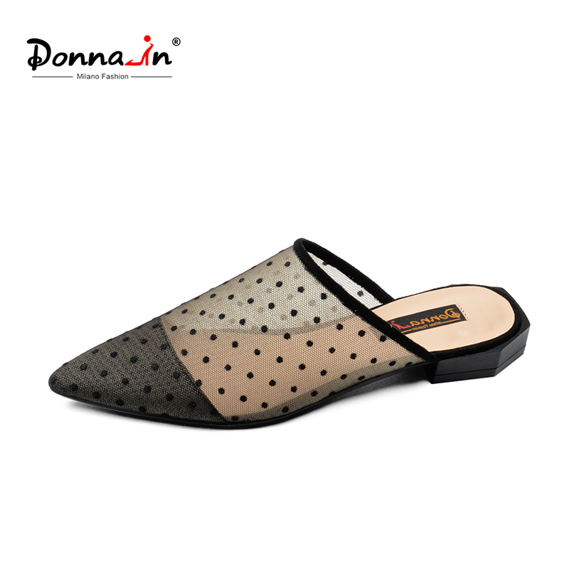 Donna-in Sexy Mesh Women Mules Pointed Toe Slippers Polka Dot Fashion Slides Low Heels Designer Luxury Summer Shoes for Ladies цены