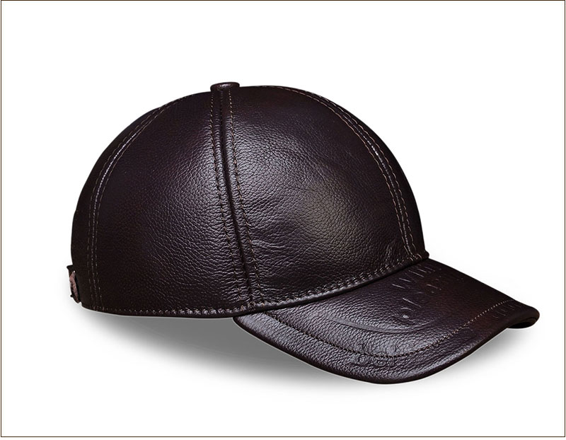 Genuine Leather Embossed Mens Baseball Cap - Brown Front Angle View