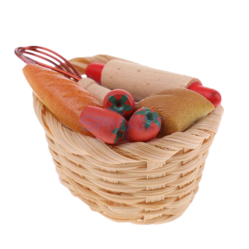 Basket with bread Dollhouse miniature 1:12