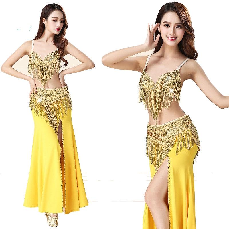 3PCS/SET Oriental Women Belly Dance Costume Outfit Set Bra Top & Belt & Dress Bellydance Hip Scarf Bollywood Bellydance Costumes