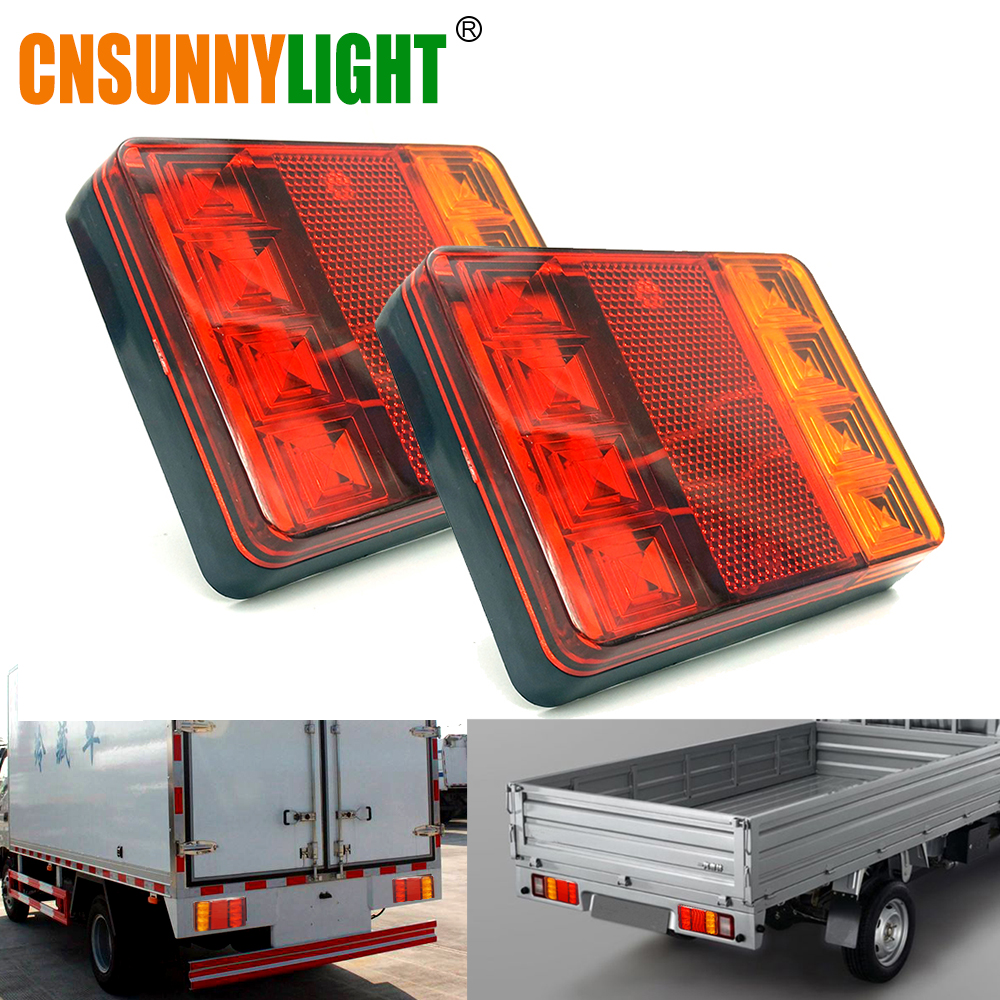 CNSUNNYLIGHT Voiture Camion LED Arrière Feu arrière Feux D'avertissement Feu Arrière Lampes Étanche Tailight Pièces pour Remorque Caravanes DC 12 V 24 V