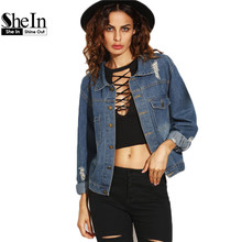 SheIn Casual Jackets For Women Autumn Fashion Blue Lapel Long Sleeve Single Breasted Buttons Ripped Denim Jacket