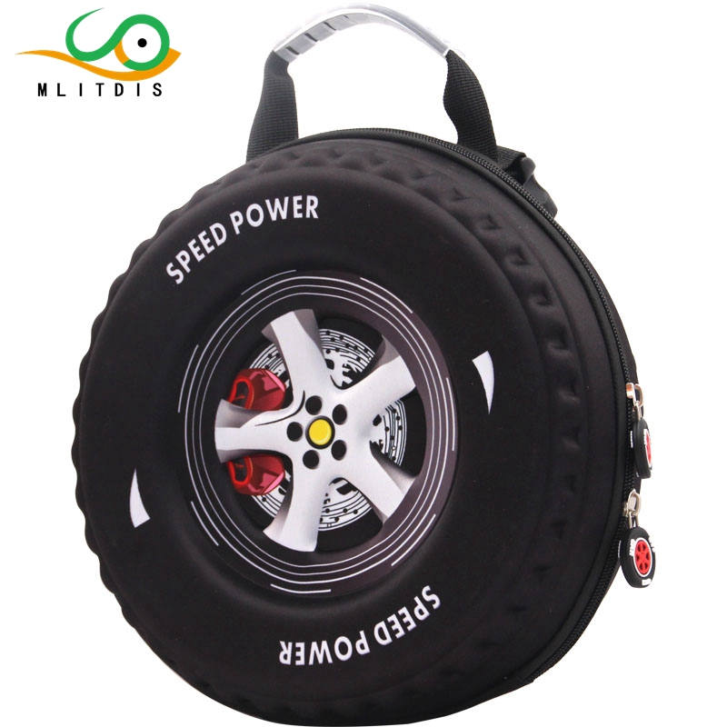 MLITDIS Small class kindergarten children aged 3-6 in diagonal 3D stereo car tire cute personality snack pack