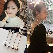 2019 Women's Earrings Simple Metal Glossy Ball Earrings For Women Fashion Long Dangle Earrings Jewelry Accessories fashion jewelry simple style one metal chain ball long drop earrings for women jewelry fancy earrings