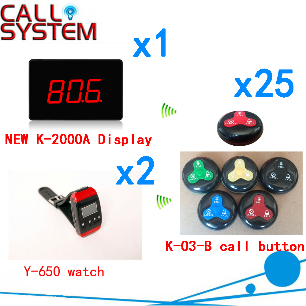 Restaurant Call Bell System 433.92mhz Waiter Service Pager Restaurant Coffee Calling Buzzer( 1 display+2 watch+25 call button ) restaurant pager watch wireless call buzzer system work with 3 pcs wrist watch and 25pcs waitress bell button p h4