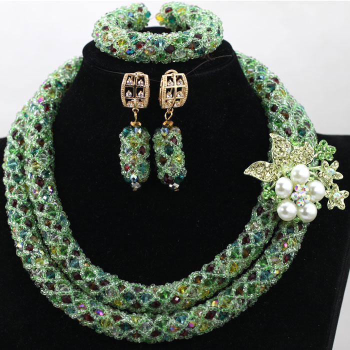 Charming Green Women Costume Bridal Jewelry Set Crystal Wedding Necklace Set Gor Women Fashion African Beads Free Shipping HX947 luxury african beads bridal jewelry set 3 rows green crystal balls necklace set women costume jewelry set free shipping abc990