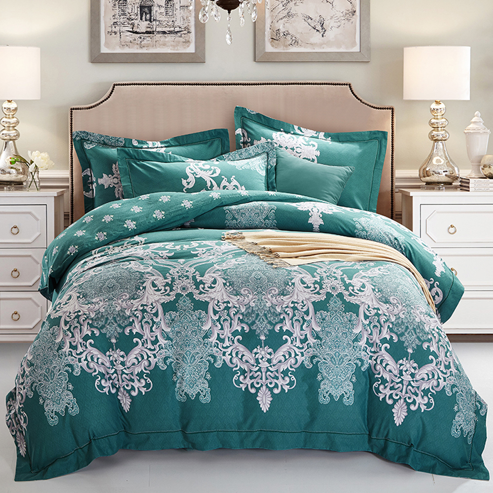 2018 european bohemian green duvet cover set winter thick bedding sets sanding cotton queen king. Black Bedroom Furniture Sets. Home Design Ideas