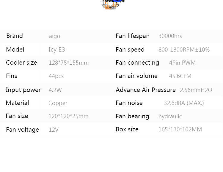 DarkFlash aigo E3 PC CPU Lüfter Kühler 4 Heatpipes CPU Kühler Lüfter Kühler Aluminium Kühlkörper LGA775/1155/ 1156/1366/AM3/AM4