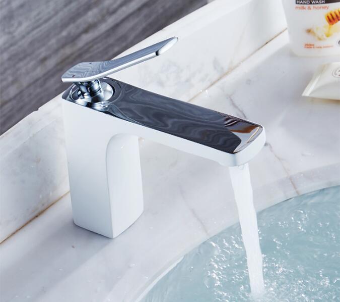 Basin faucet brass bathroom faucet luxury single lever Chrome and white sink faucet basin faucet square international award design brass single lever bathroom basin faucet bathroom sink faucet bathroom faucet