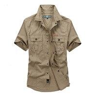 Marque vêtements shirt hommes 2016 À manches Courtes top qualité 100% coton Plus La Taille lâche hommes de chemise D'été Style Militaire 5003