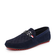 Red Bottom Men Loafers Suede Leather Shoes Slip On Male Driving Shoes Fashion Men Peas Shoes Black Blue Breathable Moccasin 2A