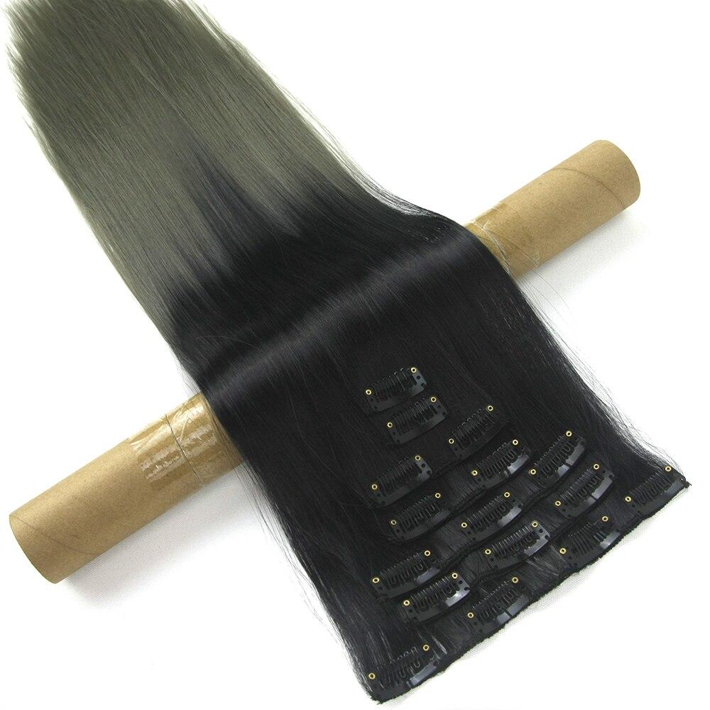 Soowee 24 Zoll 16 Clips Synthetische Haar Gerade Grau Blonde Ombre Volle Kopf Clip In Haarverlängerung Cheveux Aplique De Cabelo Synthetische Haarverlängerung