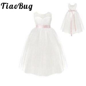 Image 1 - 2020 biała pierwsza komunia kwiat dziewczyny sukienki dziewczynki prawdziwe Party Dress na wesele dzieci wieczór Party suknie pirotechniczne