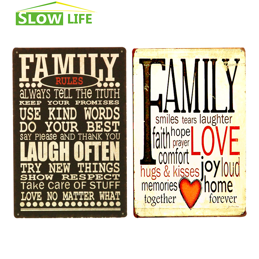 Family Love Family Rules Metal Tin Sign Home Wall Decor ...