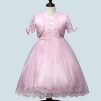 4 12Y Princess Lace Flower Girl Dresses Kids Girls Wedding Birthday Party Dress Tulle Kids Flower Girl With Jackets