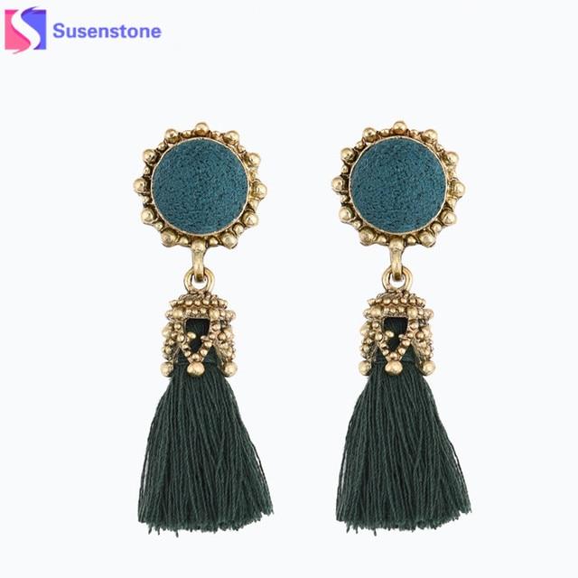 SUSENSTONE Antique Jewelry Round Crystal Silk Long Tassel Earrings For Women  Vintage drop tassel earrings Jewellery