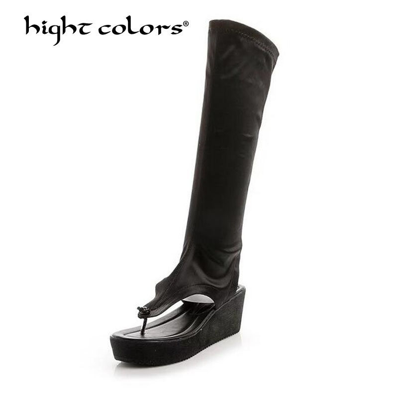 HIGHT COLORS Brand Women Shoes Knee-High Boots Sexy Wedges Summer Shoes 2018 Ladies Fashion High Heels Boots Shoes Woman 3623