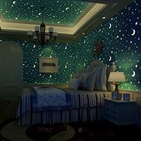 Stars And The Moon Non Woven Luminous Wallpaper Roll Children S Room Bedroom Ceiling Fluorescent Wallpaper