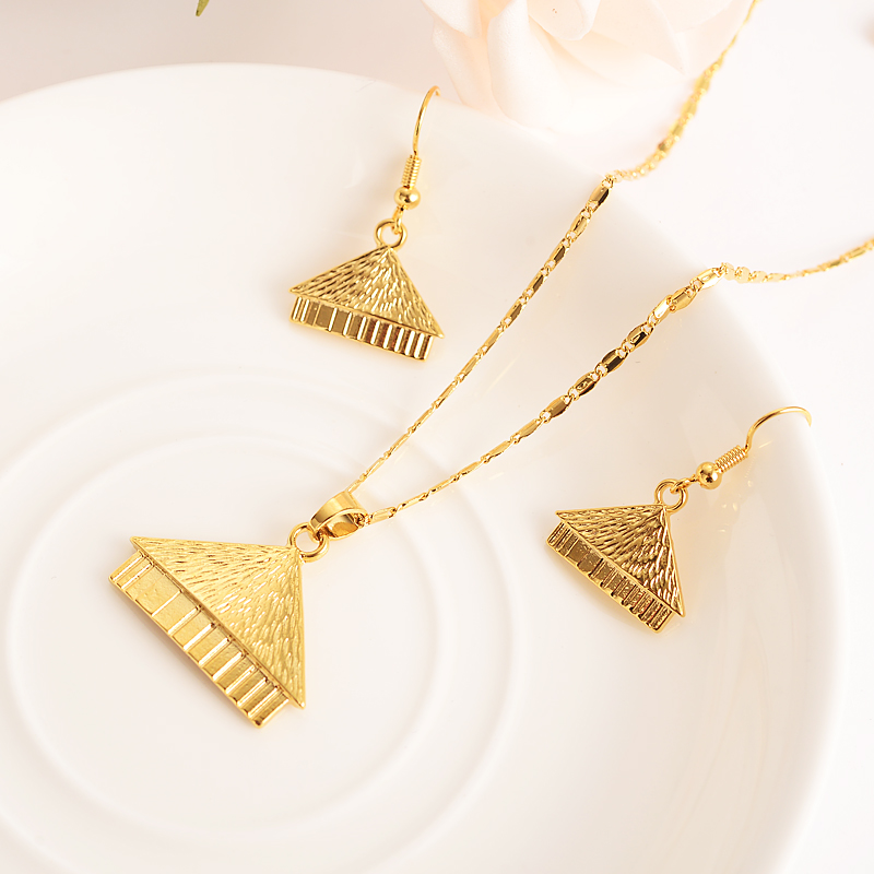 handmade BAG P house endan Necklaces Earrings Gold Color PNG Jewellery Set Papua New Guinea Wedding party women girls gifts