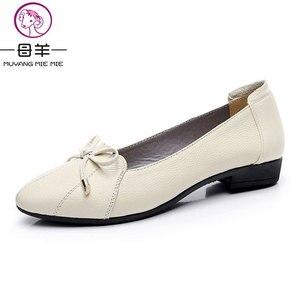 Image 5 - MUYANG MIE MIE kobiet buty 2019 prawdziwej skóry kobiet mieszkania moda kobiet w stylu casual, biurowy mieszkania baletowe Plus rozmiar 35 43 obuwie damskie