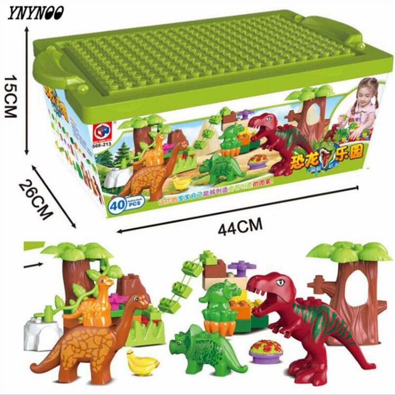 (YNYNOO)40Pcs/Lot Dino Valley Building Blocks Sets Large particles Animal dinosaur World Model toys Bricks Compatible Duploe