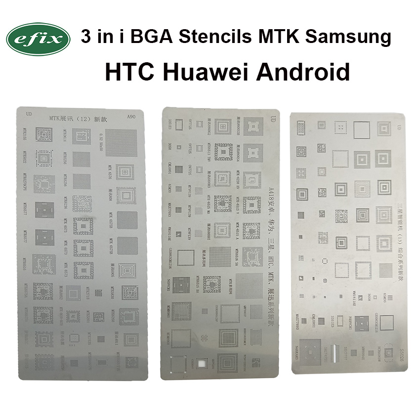 New Universal BGA Reballing Stencils Kit 3pcs For MTK Samsung HTC Huawei Android