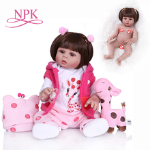 NPK 48CM newborn bebe doll reborn doll baby girl in pink dress full body soft silicone realistic baby Anatomically Correct