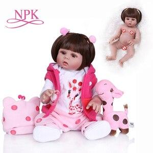 NPK 48CM newborn bebe doll reborn doll baby girl in pink dress full body soft silicone realistic baby Anatomically Correct(China)