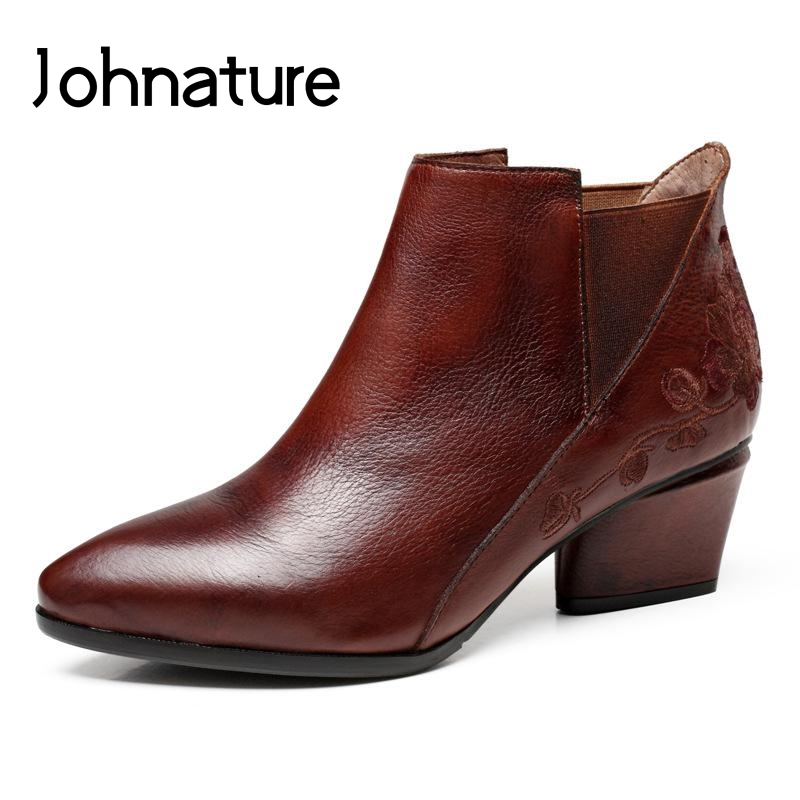 Johnature 2019 New Spring Autumn Retro Pointed Toe Solid Women Shoes Genuine Leather Embroidery Ankle Booties