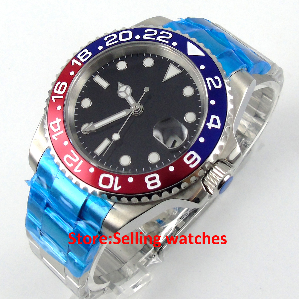 40mm Parnis black dial Sapphire glass date window GMT automatic mens watch