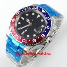 40mm Parnis negro dial cristal de Zafiro ventana de fecha GMT reloj automático para hombre
