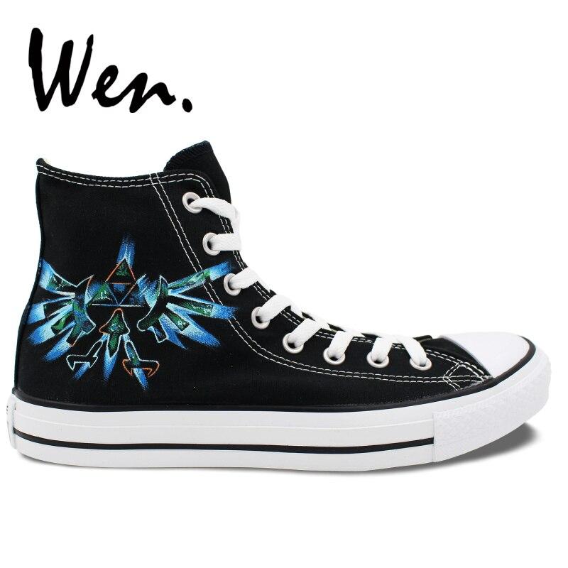 Wen Design jeu vidéo légende de Zelda marque bleue peint à la main chaussures de Skateboard filles garçons noir haut toile extérieur baskets