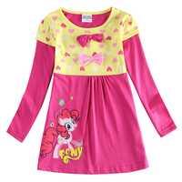Fille manches longues robe petit poney printemps automne coton a-ligne robe fille fleurs pour enfants portant des robes de filles H6499
