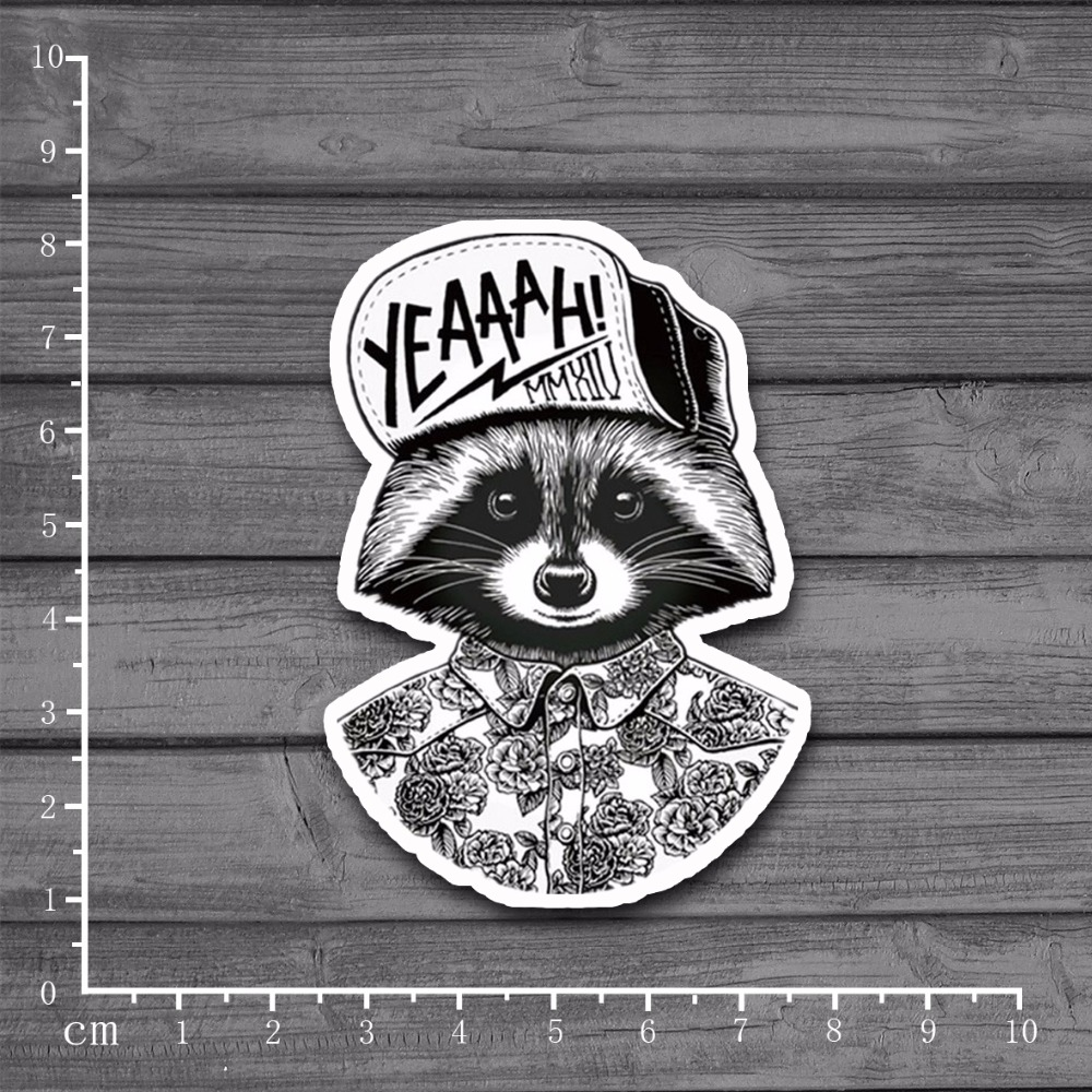Hip Hop Raccoon Cool Graffiti Scrapbooking Stationery Sticker Decor Decal For Ablum Diary Laptop Luggage Skateboard[Single]