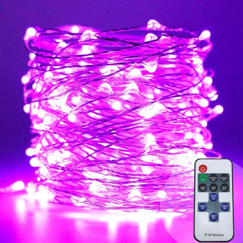 10m 100 33ft RF fjärrkontroll dimbar LED-koppar trådsträng lampa - Festlig belysning - Foto 4