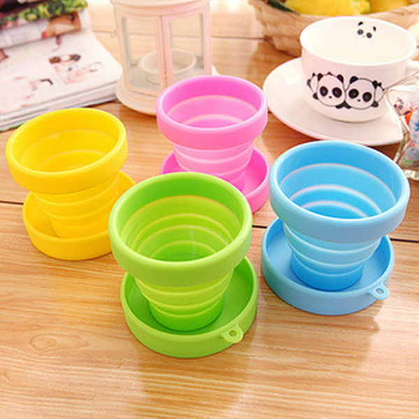 DHL 500pcs Portable Silicone Folding Water Cup Candy Color Silicone Traveling Foldable Cups For Travel Outdoor