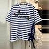 2017 Summer New Letter Rose Sequined T Shirts For Women Stripe Short Sleeve T Shirt Female