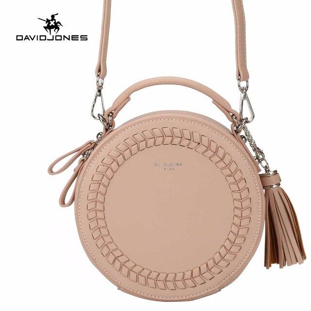 DAVIDJONES Vintage PU Leather Messenger Bag For Women Circular Knitting  Tassel Shoulder Bags 2018 Brand Casual Crossbody Bags