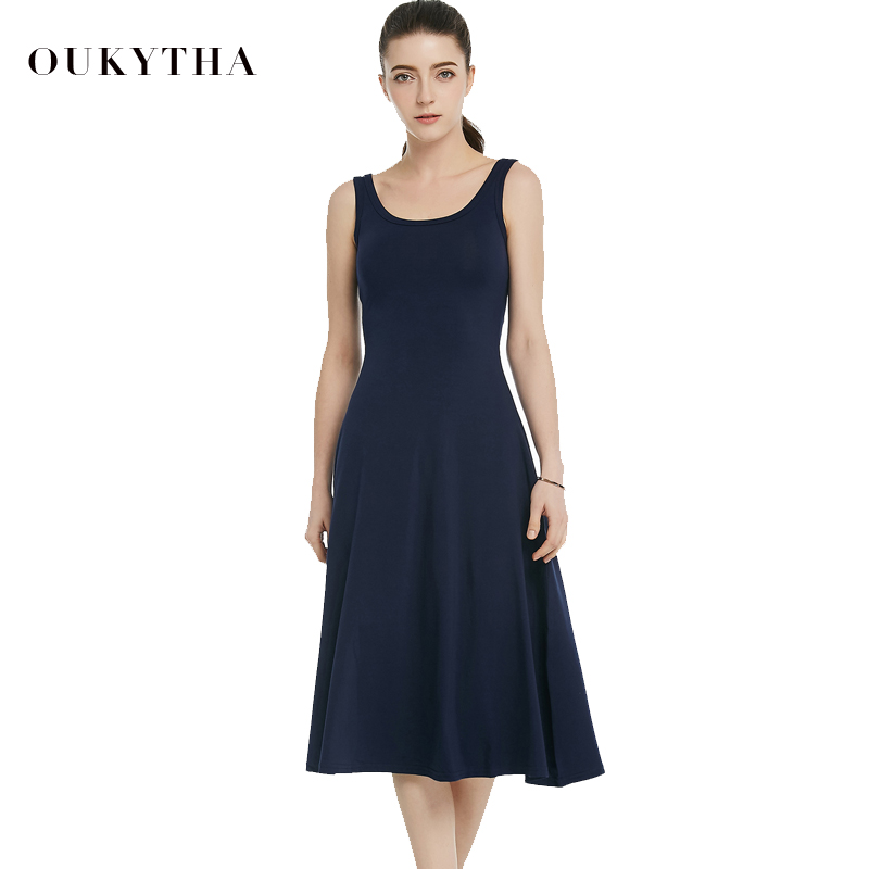 Oukytha Summer Dresses 2017 Ladies Maxi Dress High Waist Sleeveless Casual Vintage O neck Knee length