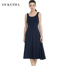 Summer Dresses 2018 Women High Waist Sleeveless Casual Ladies Dress Vintage O-neck Cotton LongTank Dress Girl Plus Size16187