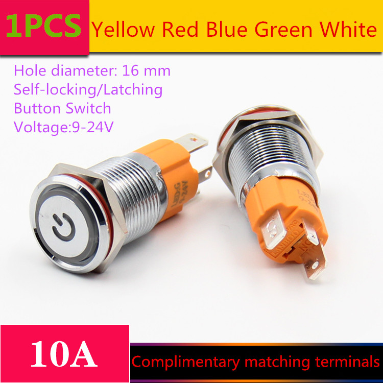 1PCS  YT1210  Hole Size 16 mm  Self-locking/Latching switch Metal push button switch With LED Light 9-24 V  10A Sell at a Loss