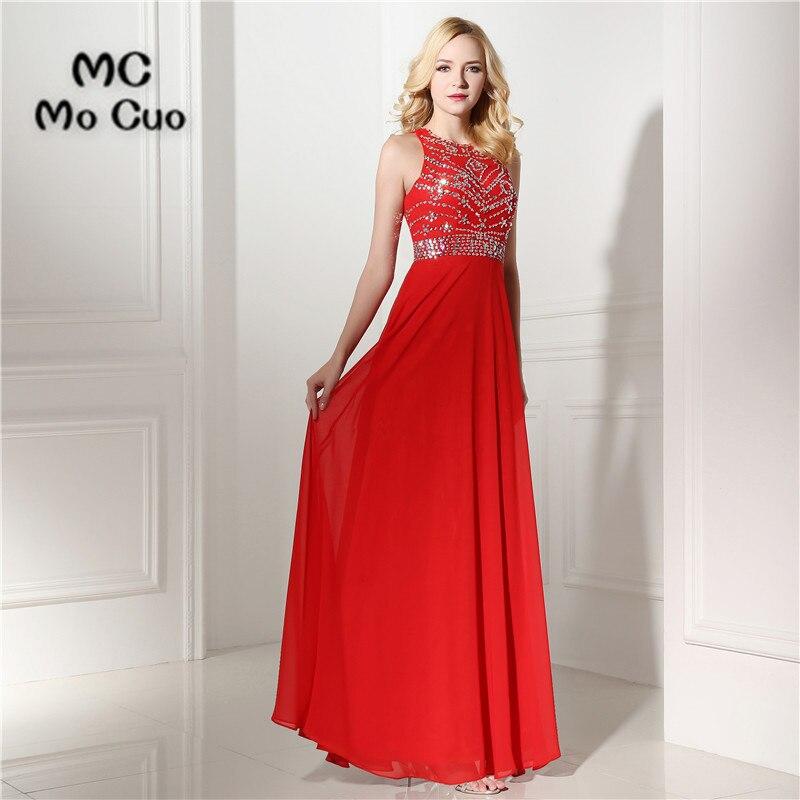 New 2017   Prom     dresses   Long Crystals by Hand Vestidos de fiesta   dress   for graduation Chiffon Red Formal Evening   Prom     Dress