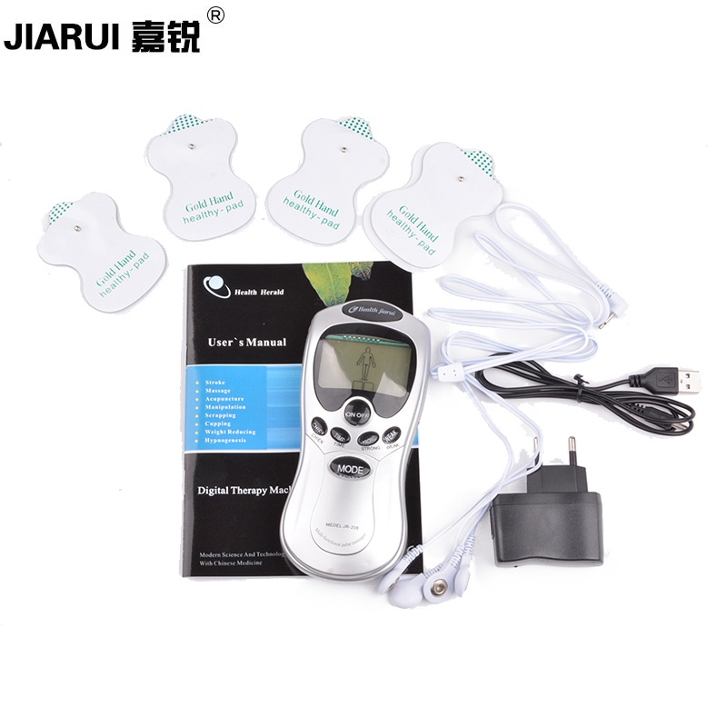 JR208 Electric Massager Full Body Meridian Machine Health Therapy Electro Stimulation Slimming Electric Therapy Massageador 4pad