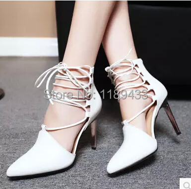 sexy pointed toe sheepskin leather high-heeled shoes straps ankle wrap sandals women thin heels OL summer boots sandals цена