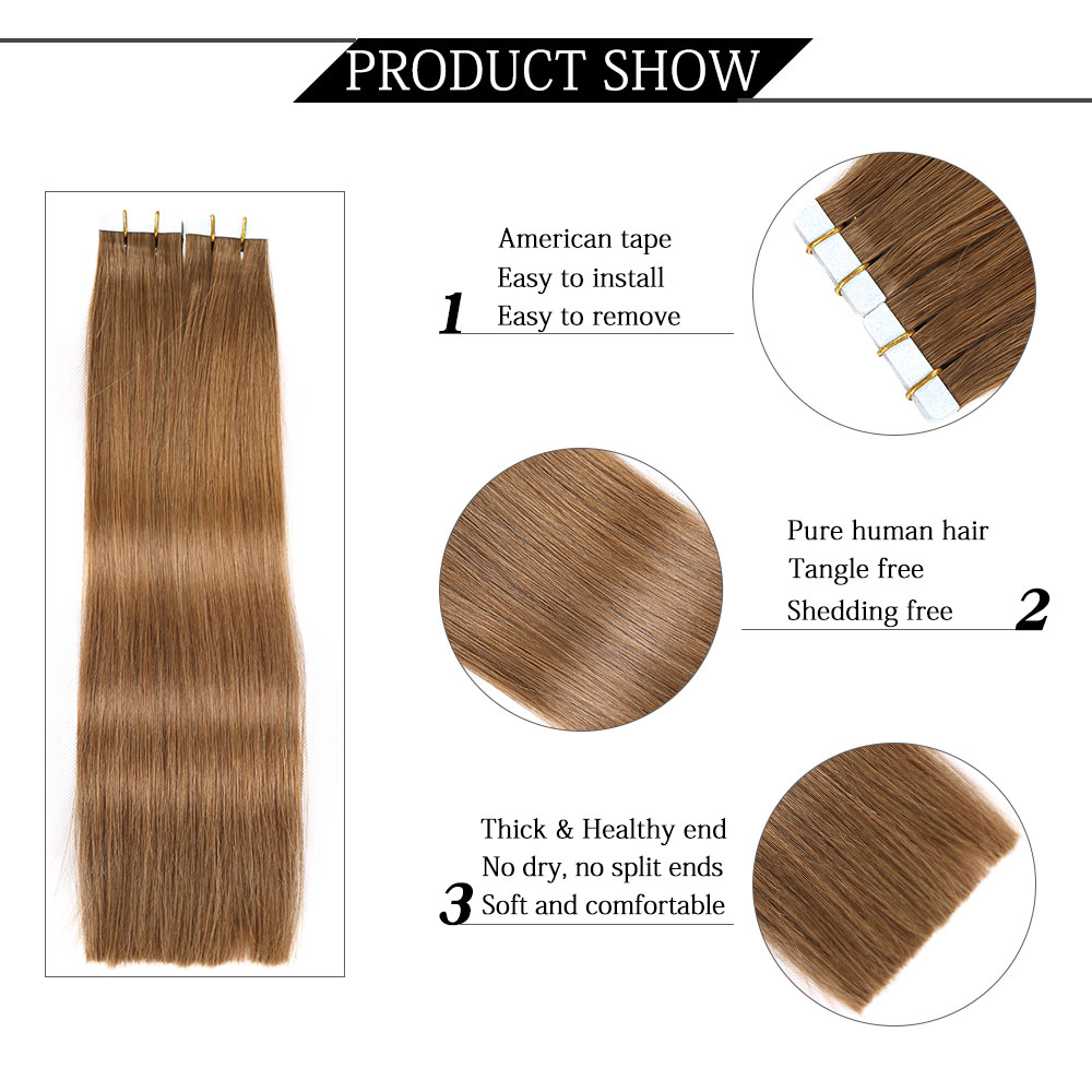 Yilite 18inch Tape In Humanhair Extensions Remy European Straight